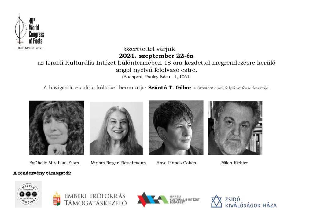 Költők Világkongresszusa Budapesten – izraeli vendégekkel