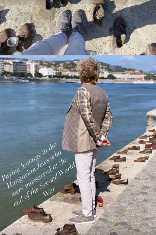 Rod Stewart a Cipők a Dunaparton emlékműnél